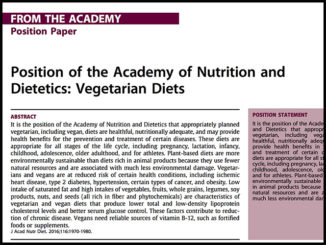 Academy of Nutrition and Dietetics - Vegan Diets | Meat Your Future